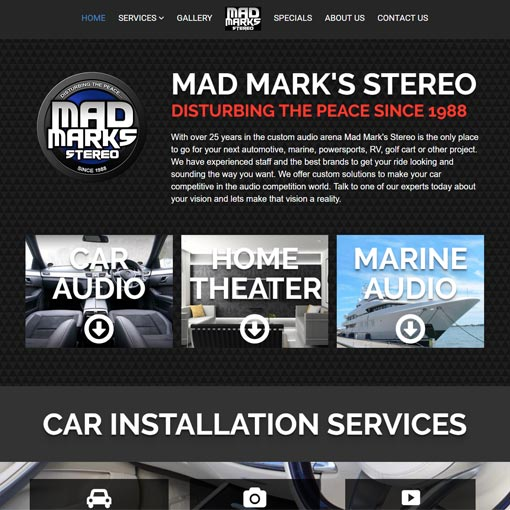 Mad Mark's home page screenshot