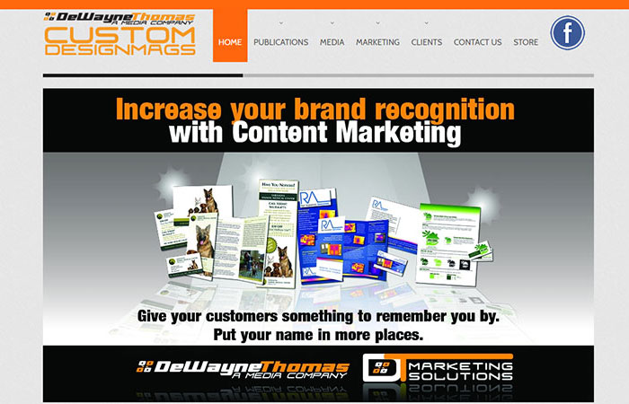 desktop screenshot of CustomDM's website