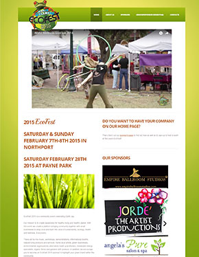 tablet screenshot of EcoFest's website
